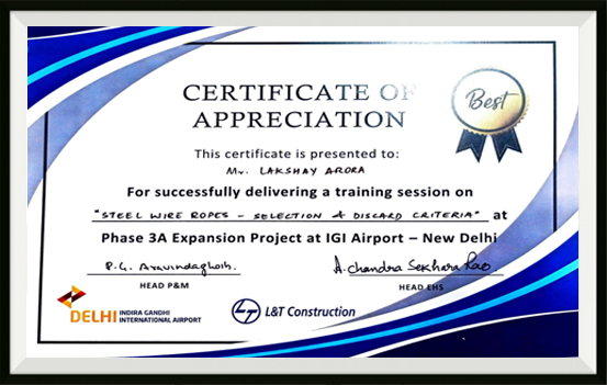 Certification of Appreciation from L&T